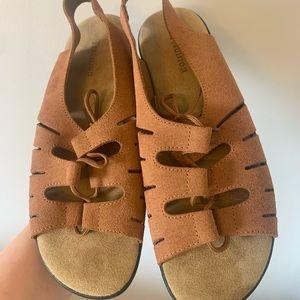 tan faux-suede lace-up sandals platform naot hippie beige wide width NWOT